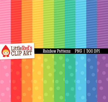 Rainbow Pattern Digital Papers - Backgrounds