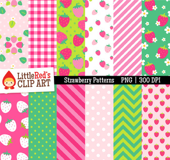 Strawberry Pattern Digital Papers - Backgrounds