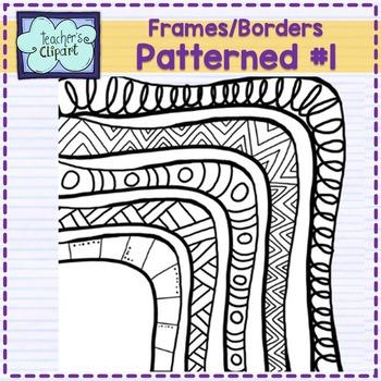 Rainbow Patterned frames #1 - borders clipart- Teacher's Clipart