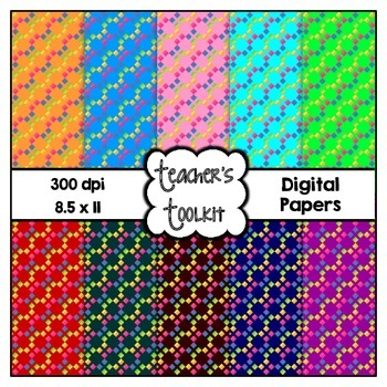 Rainbow Patterns Digital Background Papers {8.5 x 11} Clip Art CU OK