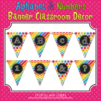 Rainbow Patterns Theme Alphabet & Numbers Classroom Banner