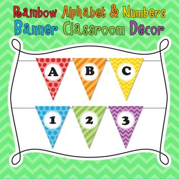 Rainbow Patterns Theme Alphabet & Numbers Classroom Banner Decoration
