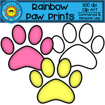 Rainbow Paw Prints Clip Art