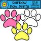 Rainbow Paw Prints Clip Art