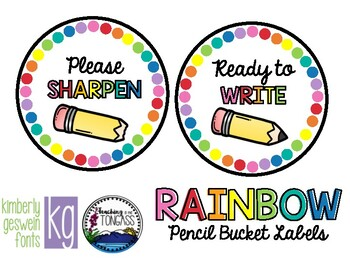 Rainbow Pencil Bucket Labels (Please Sharpen and Ready to Write)