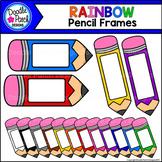 Rainbow Pencil Frames Clip Art Set - Doodle Patch Designs