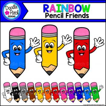 {Free} Rainbow Pencil Friends Clip Art Set - Doodle Patch Designs