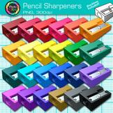 Rainbow Pencil Sharpener Clip Art {Back to School Supplies for Classroom Decor}