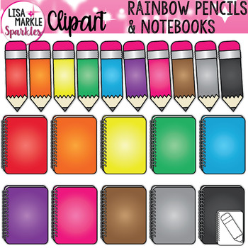 Rainbow Pencil and Notebook Back to School Clipart