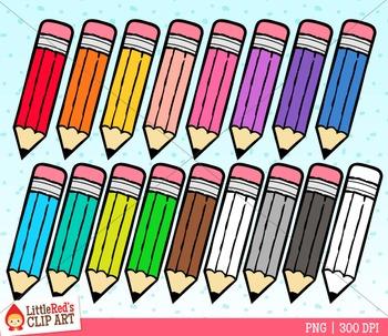 Rainbow Pencils Clip Art