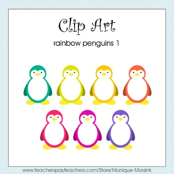 Rainbow Penguins 1 - Clip Art - Freebie