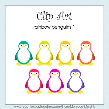 Rainbow Penguins 1 - Clip Art - Freebie