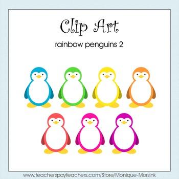 Rainbow Penguins 2 - Clip Art - Freebie