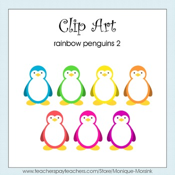 Rainbow Penguins 2 - Clip Art - Freebie