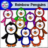 Rainbow Penguins Clip Art Set - Doodle Patch Designs