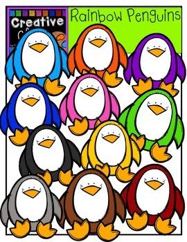 Rainbow Penguins {Creative Clips Digital Clipart}