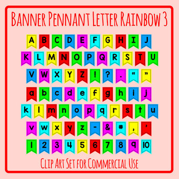 Rainbow Pennant / Flag Letters in Bright Primary Colors Clip Art Set