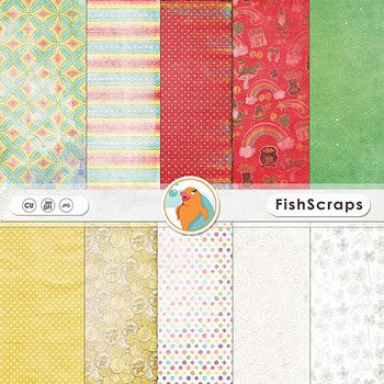 Rainbow Penny Lightly Textured Patterned Backgrounds for St. Patrick's Day!