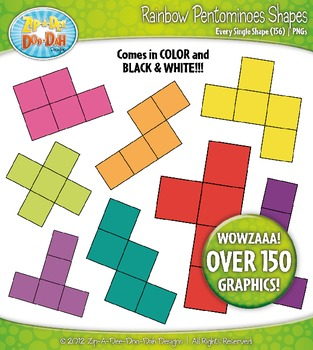 Rainbow Pentominoes Shapes Clipart — Over 150 Colorful Graphics!