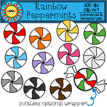 Rainbow Peppermint Candy Clip Art