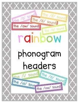 Rainbow Phonogram {Vowel Combination} Posters