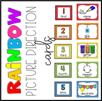 Rainbow Picture Direction Cards