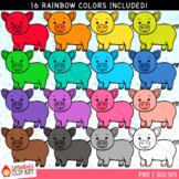 Rainbow Pigs Clip Art