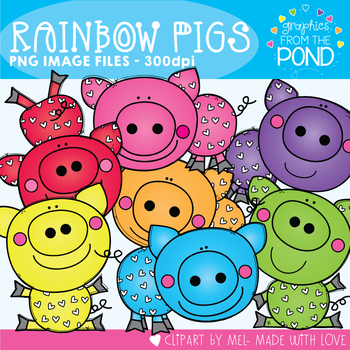 Rainbow Pigs Clipart