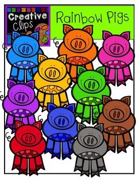 Rainbow Pigs {Creative Clips Digital Clipart}