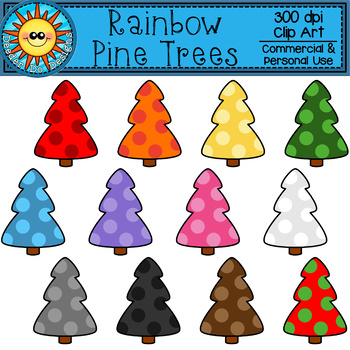 Rainbow Pine Tree Clip Art