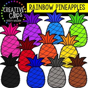 Rainbow Pineapples: Summer Clipart {Creative Clips Clipart}