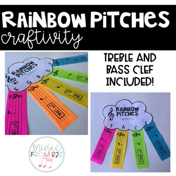 Treble and Bass Clef Activities-Rainbow Craft
