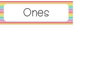Rainbow Place Value Bulletin Board Labels. Classroom Accessories.