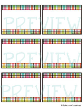 Rainbow Plaid Classroom Labels & Name Tags
