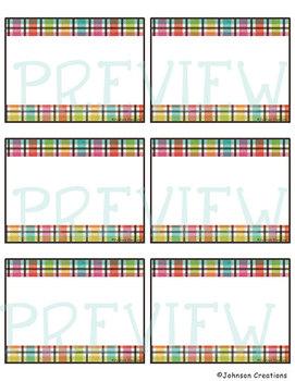 Rainbow Plaid Classroom Labels & Name Tags