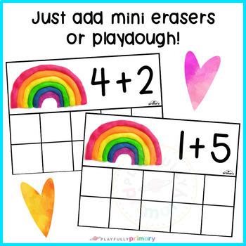 Rainbow Playdough Addition Frames | Addition to 10