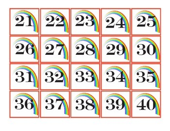 Rainbow Pocket chart Number cards 1-100