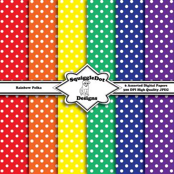 Rainbow Polka Background Paterns