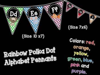 Rainbow Polka Dot Alphabet Posters & Pennants