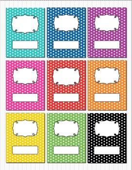 Rainbow Polka Dot Binder Insert Binder Covers (Scroll) 8.5 x 11 Editable