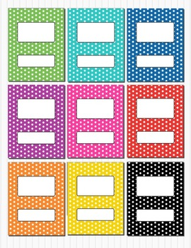 rainbow polka dot binder insert folder covers box 8 5 x 11 editable