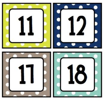 Rainbow Polka Dot Calendar Card Set for Pocket Charts