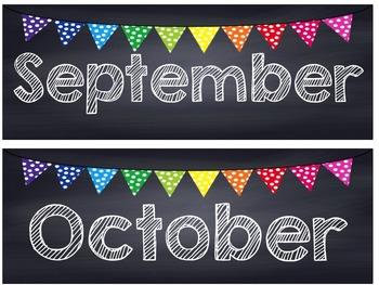 Rainbow Polka Dot Chalkboard Calendar Set