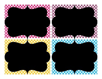 Colorful Polka Dot Chalkboard Theme Labels-Editable!