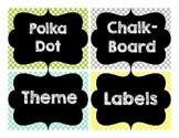 Colorful Polka Dot Chalkboard Theme Labels-Editable!