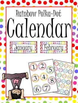 Rainbow Polka-Dot Classroom Calendar