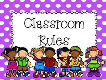 Rainbow Polka Dot Classroom Rules Posters