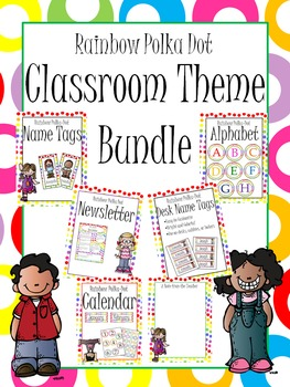 Rainbow Polka Dot Classroom Theme Set