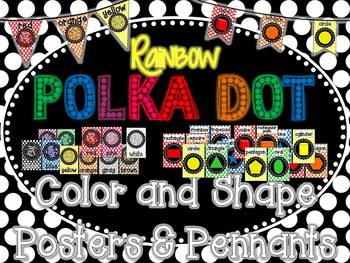Rainbow Polka Dot Color and Shape Posters & Pennants