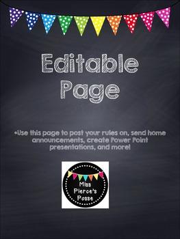 Rainbow Polka Dot Editable Page